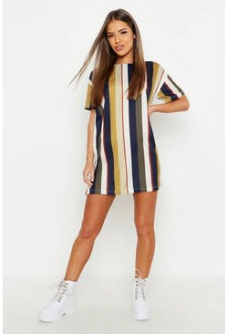 Womens Mustard Petite Tonal Short Sleeve Shift Dress