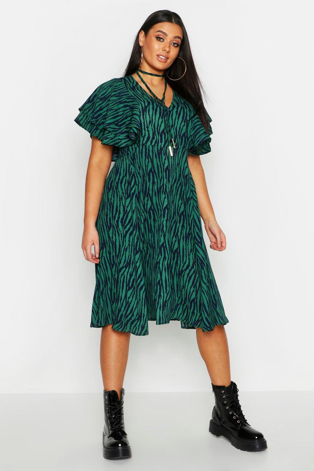 Plus Zebra Print Bolo Tie Angel Sleeve Midi Dress