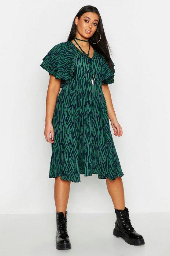Plus Zebra Print Bolo Tie Angel Sleeve Midi Dress Plus Zebra Print Bolo Tie Angel Sleeve Midi Dress by Boohoo
