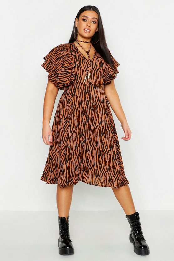 Womens Rust Plus Zebra Print Bolo Tie Angel Sleeve Midi Dress