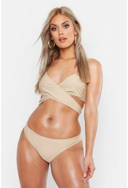 Womens Stone Plus Cross Front Triangle Bikini