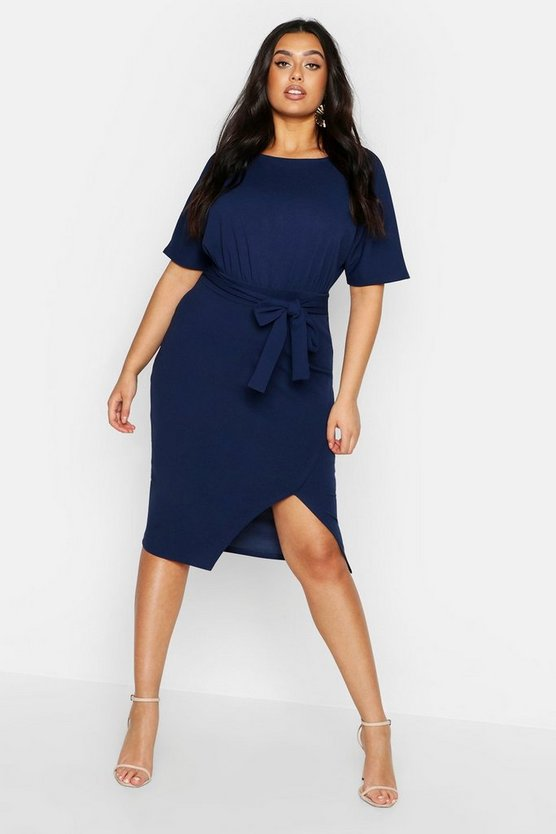 Womens Navy Plus Slash Neck Tie Waist Midi Dress