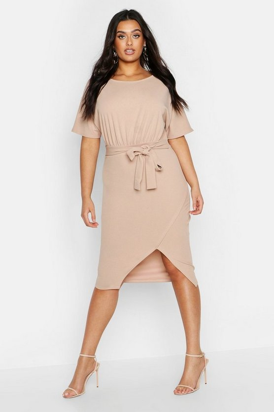 Womens Stone Plus Slash Neck Tie Waist Midi Dress