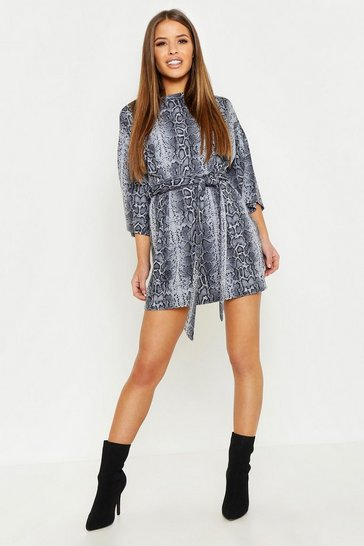 Grey Petite Snake Print Belted T-Shirt Dress