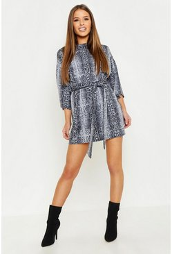Womens Grey Petite Snake Print Belted T-Shirt Dress