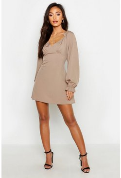 Womens Taupe Petite Frill Sleeve Plunge Shift Dress