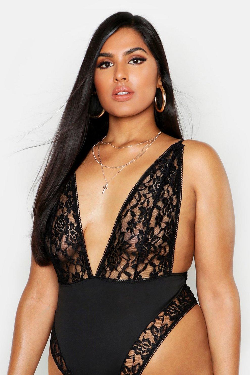 b8ec8264b5de Womens Black Plus Lace & Satin Plunge Bodysuit