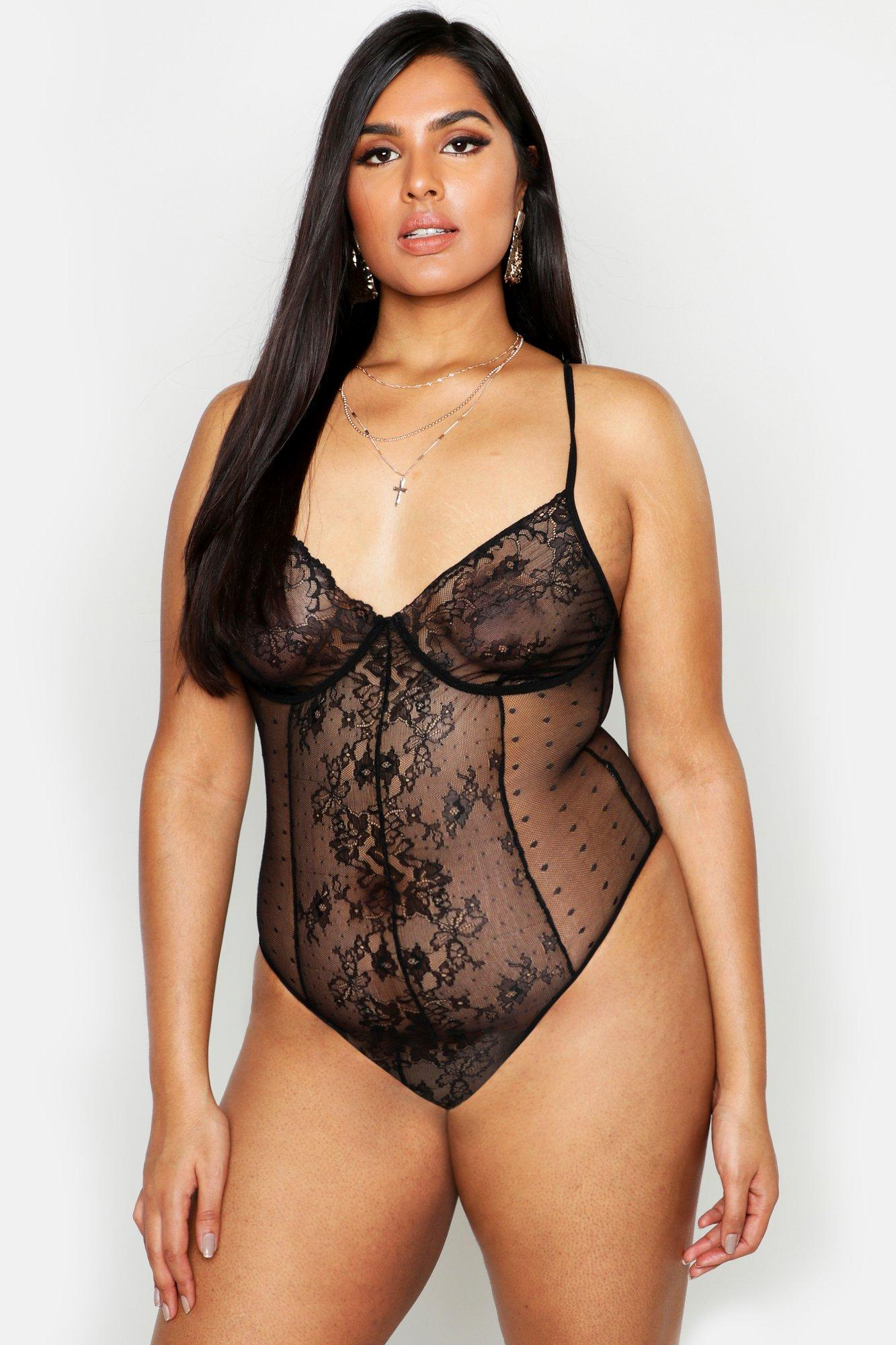 Plus Spot & Floral Lace Bodysuit