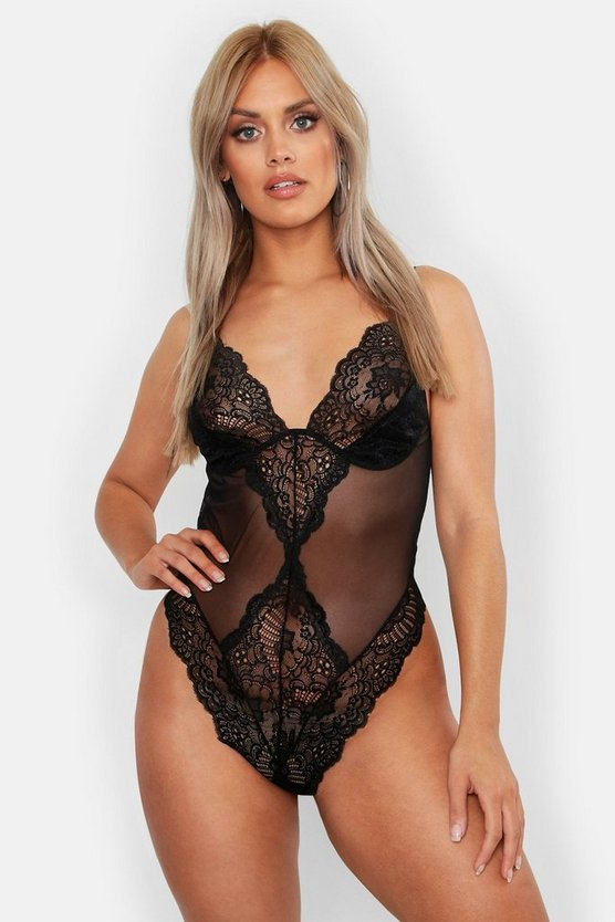 Womens Black Plus Mesh Lace Bodysuit