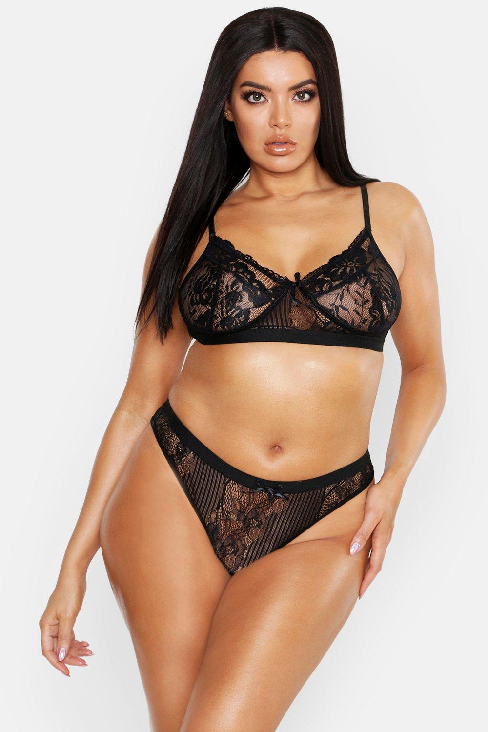 Plus Stripe Lace Set