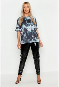 Womens Black Plus Tie Dye Oversized T-Shirt