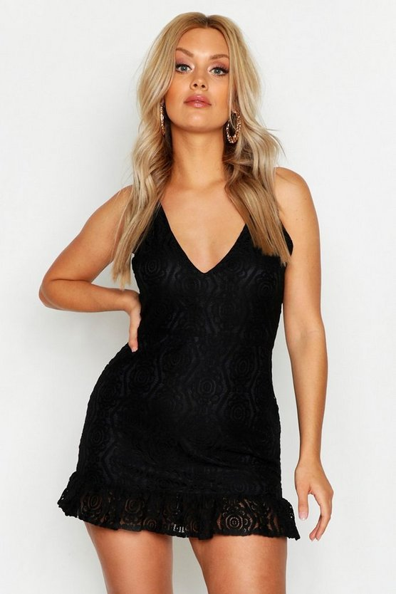 Womens Black Plus Lace Plunge Ruffle Hem Mini Dress