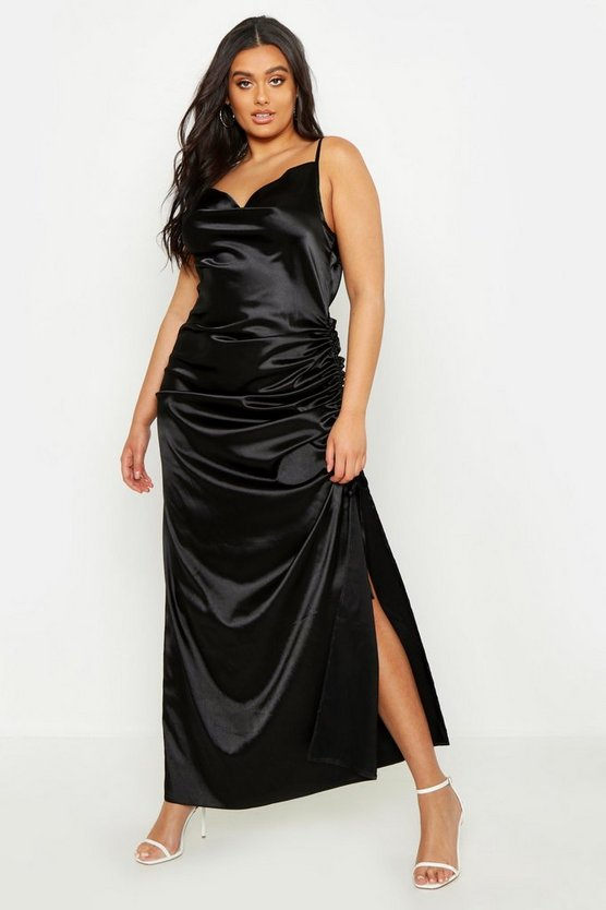 Womens Black Plus Satin Cowl Neck Maxi Dress