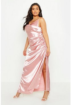 Womens Blush Plus Satin Cowl Neck Maxi Dress