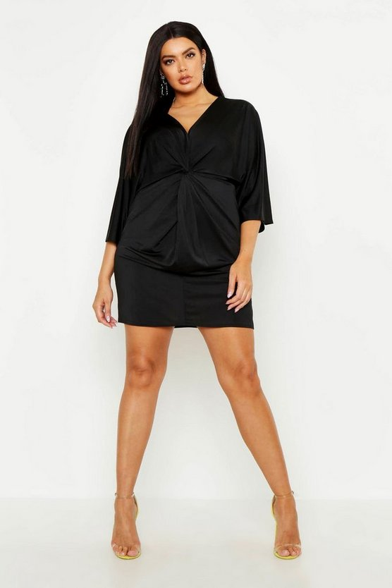 Womens Black Plus Knot Front Slinky Shirt Dress