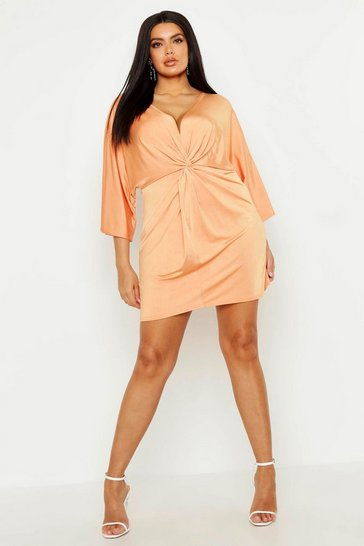 Womens Orange Plus Knot Front Slinky Shirt Dress