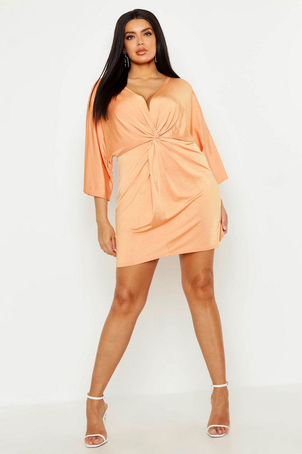 041634cf9fdf48 Plus Knot Front Slinky Shirt Dress