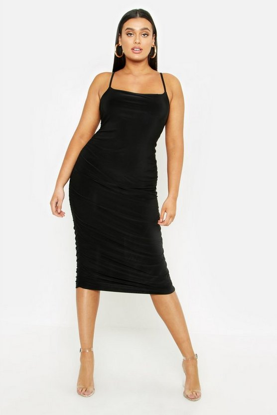 Black Plus Strappy Double Layer Slinky Ruched Midi Dress