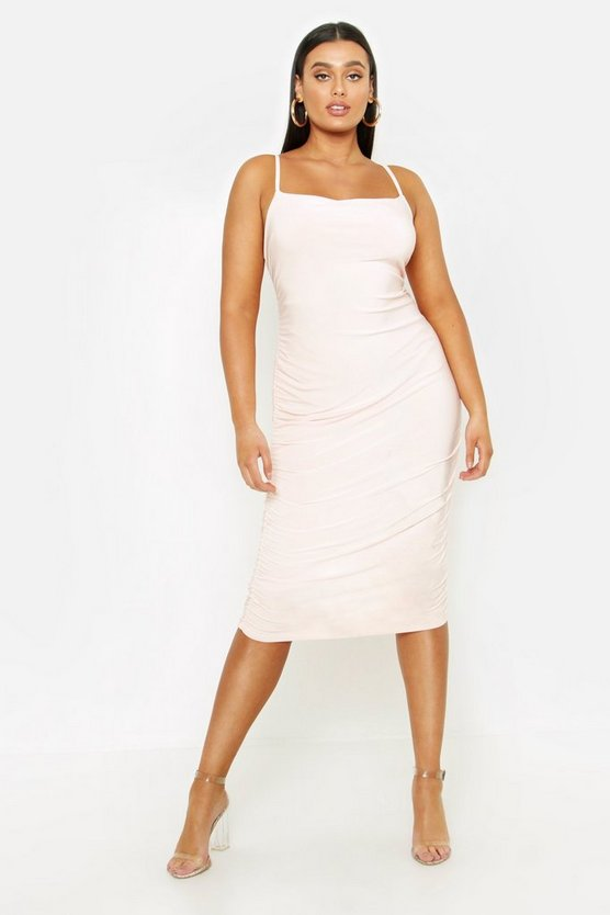 Womens Blush Plus Strappy Double Layer Slinky Ruched Midi Dress