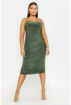 Womens Sage Plus Strappy Double Layer Slinky Ruched Midi Dress