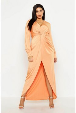Orange Plus Twist Front Plunge Slinky Midi Dress