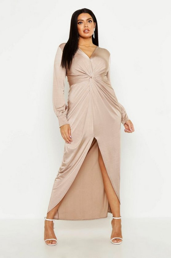 Womens Sand Plus Twist Front Plunge Slinky Midi Dress