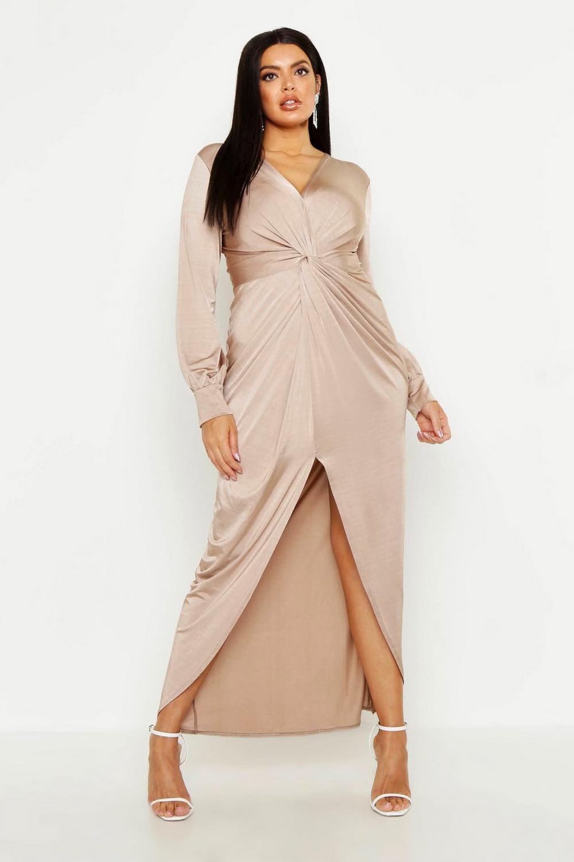 Plus Twist Front Plunge Slinky Midi Dress