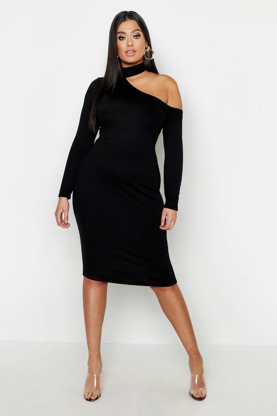 Womens Black Plus High Neck Cut Out Midi Dress
