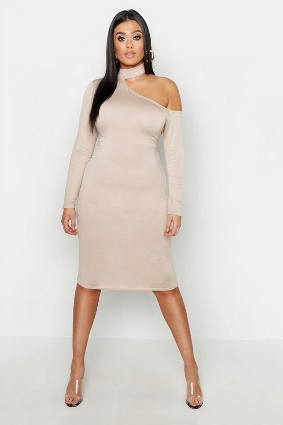 Womens Stone Plus High Neck Cut Out Midi Dress