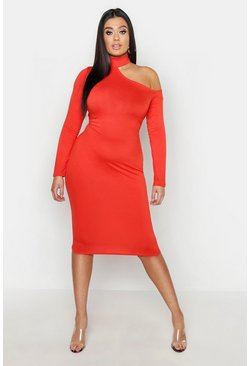 Womens Tangerine Plus High Neck Cut Out Midi Dress
