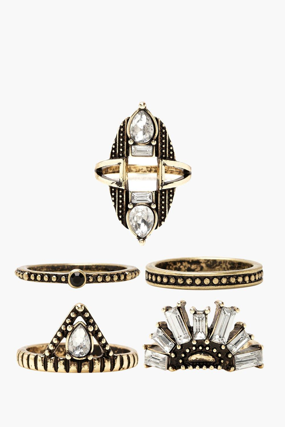 Plus Mixed Jewel Detail Ring Pack