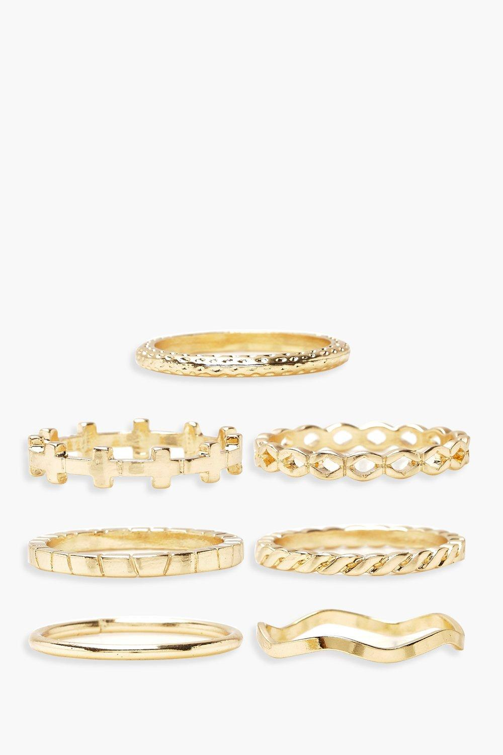Plus Gold Mixed 7 Pack Ring Set