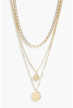 Womens Gold Plus Chain Pendant Layered Chocker
