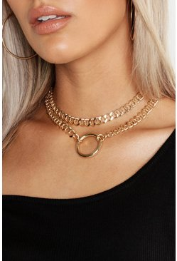 Plus Ketten-Choker mit O-Ring, Gold, Damen