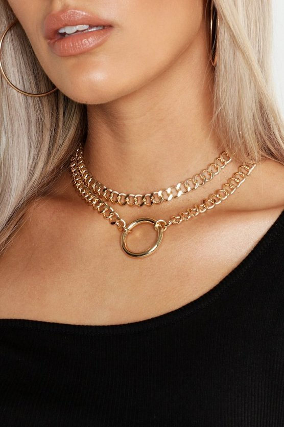 Womens Gold Plus O-Ring Detail Chain Choker