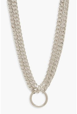 Womens Silver Plus O-Ring Detail Chain Choker
