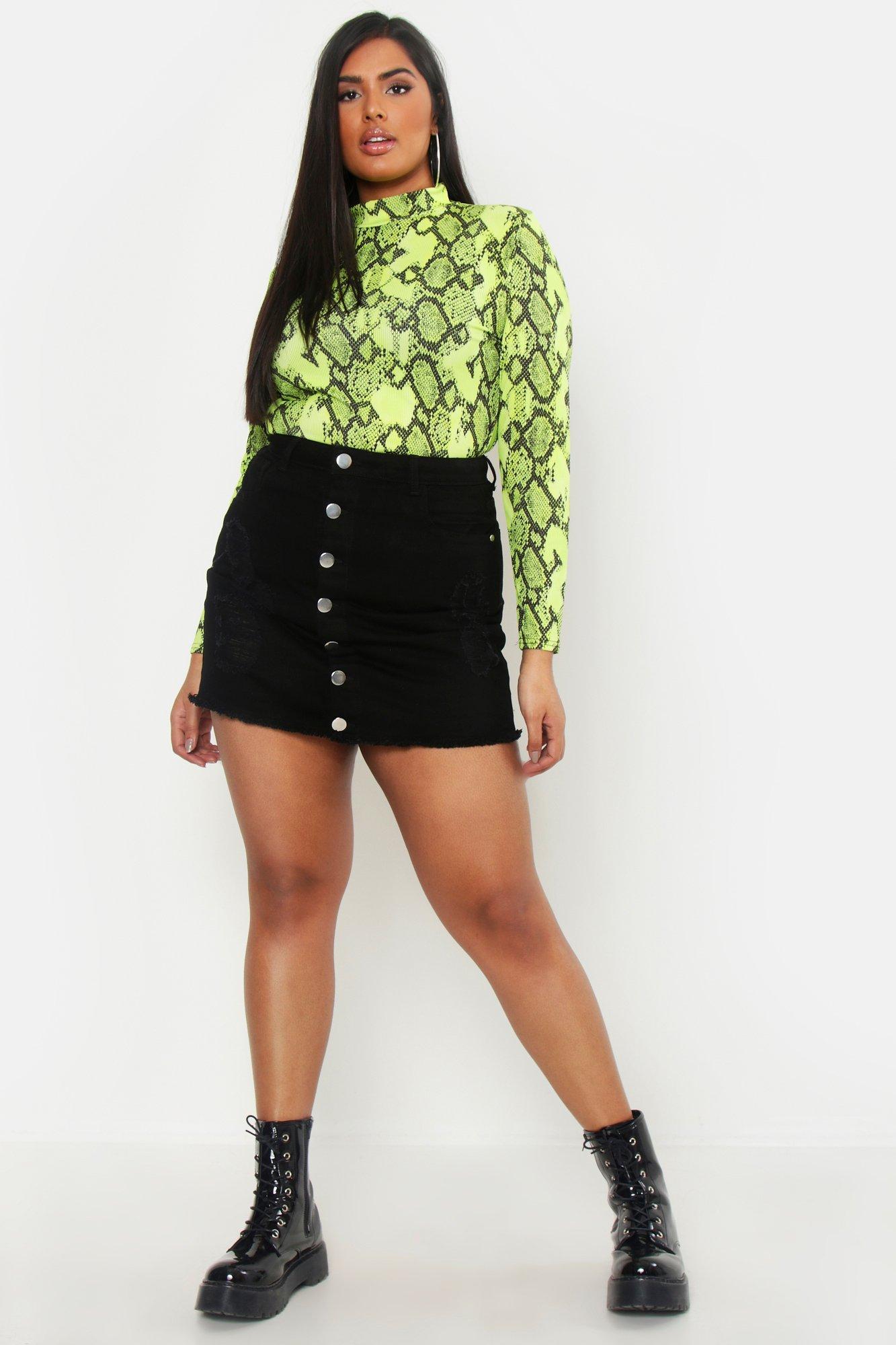 Plus Distressed Button Detail Skirt