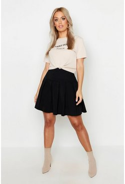 Womens Black Plus Tennis Style Pleated Skater Skirt