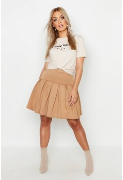 Womens Camel Plus Tennis Style Pleated Skater Skirt