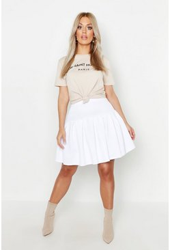 Womens White Plus Tennis Style Pleated Skater Skirt