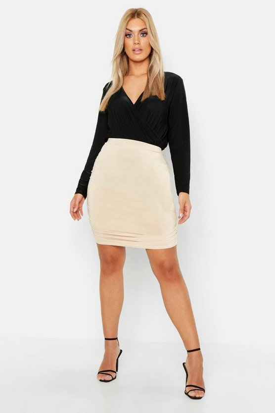 Plus Slinky Rouched Mini Bodycon Skirt