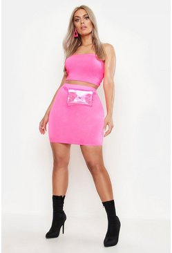 Neon-pink Plus Double Layer Slinky Neon Mini Skirt