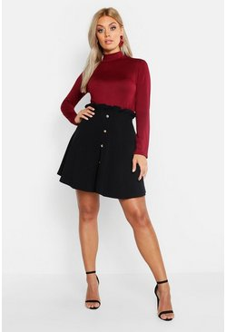 Womens Black Plus Paper Bag Button Detail Skater Skirt