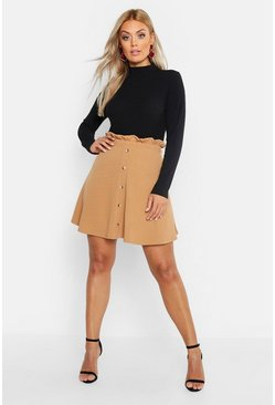 Womens Camel Plus Paper Bag Button Detail Skater Skirt