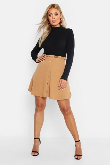 Camel Plus Paper Bag Button Detail Skater Skirt
