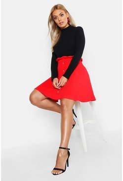 Womens Red Plus Paper Bag Button Detail Skater Skirt
