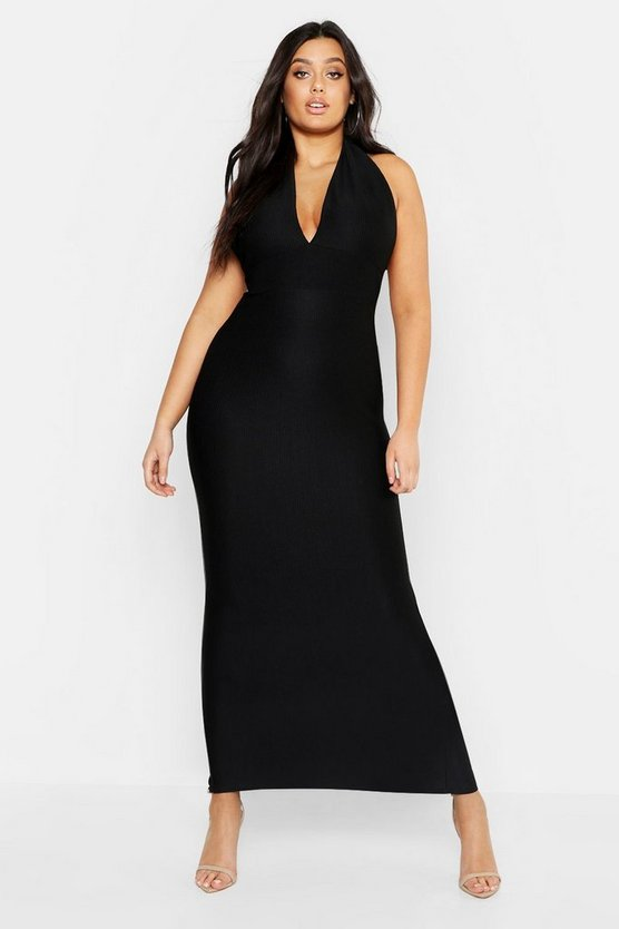 Womens Black Plus Rib Plunge Bodycon Midaxi Dress