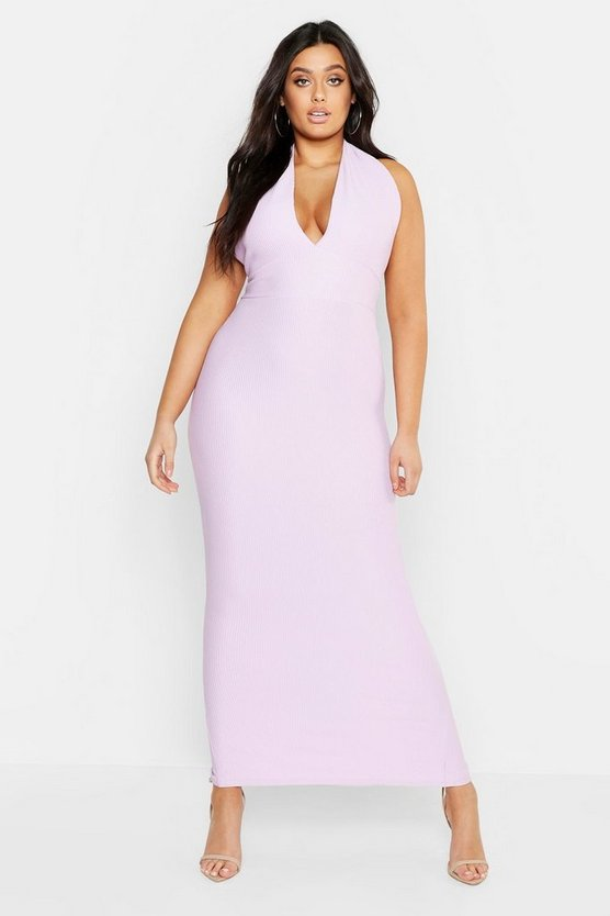 Womens Lilac Plus Rib Plunge Bodycon Midaxi Dress