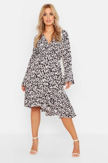 Womens Grey Plus Wrap Front Leopard Print Ruffle Hem Midi Dress