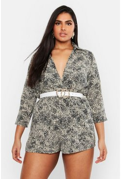 Womens Sand Plus Mini Leopard Tie Waist Shirt Playsuit
